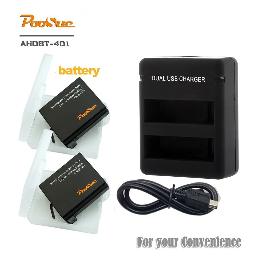 3,8 V 2x1600 mAh batería para gopro héroe 4 AHDBT401 Hero4 bateria AHDBT-401 + Dual USB cargador para amkov 7000s