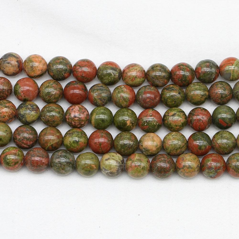1strand/lote pedra natural unakite verde jaspers grânulo redondo gema solta espaçador grânulos para joias fazendo descobertas diy pulseira presente