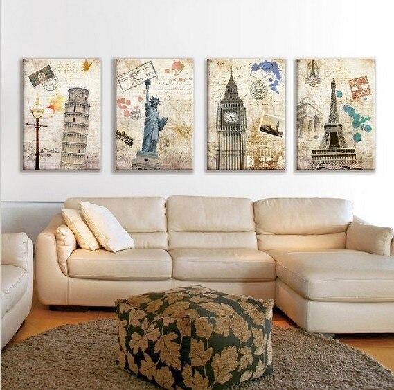 Conjunto de 4 unidades de impresiones de arte, pintura a óleo sobre...