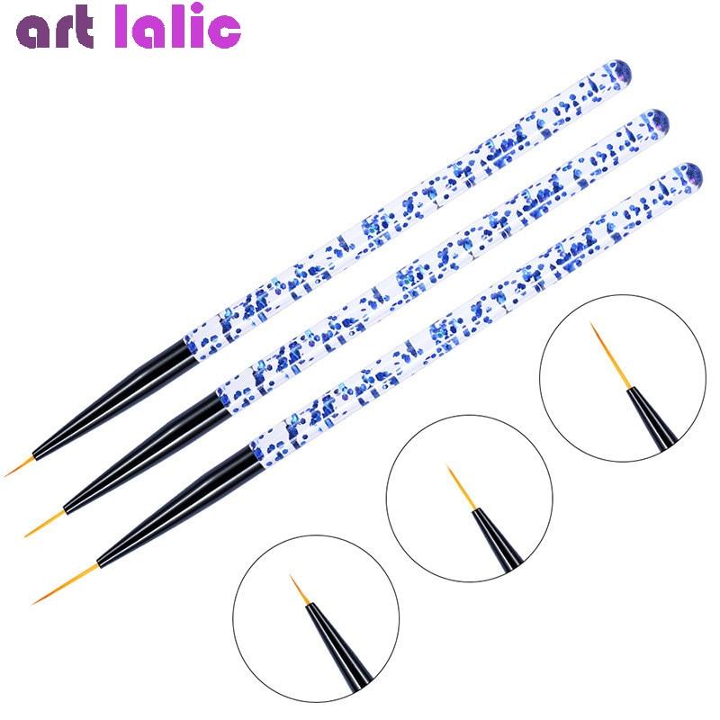 3 шт./компл. ручка для рисования ногтей 3D кончики акриловые кисти для УФ-геля Рисование кристальная подкладка Блестящий французский дизайн и...