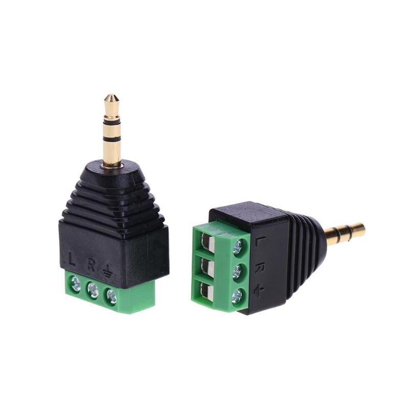2 uds Jack 3,5mm bloque de terminales chapado en oro conector de clavija Adaptador convertidor macho 3pin doble canal AV Stereo Audio verde corriente
