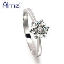 Almei 10% Off charmes grande bague en pierre femmes bijoux pas cher produits chinois Anillos Plata Mujer argent CZ Zircon anneaux femmes J002