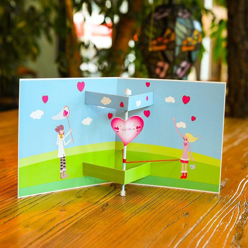 Corte A Laser 3D Colorido Doce Namorada Namorado Mostrar Cartões Do Convite Do Casamento De Papel Amor Presente do Dia Dos Namorados Propor
