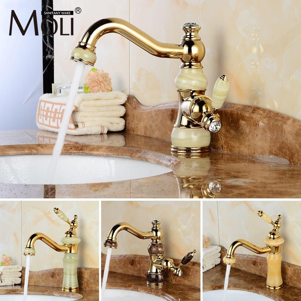 Ücretsiz kargo lüks altın musluk bakır banyo muslukları taş ile tek kolu soğuk ve sıcak su musluk bataryası Torneiras GS9600