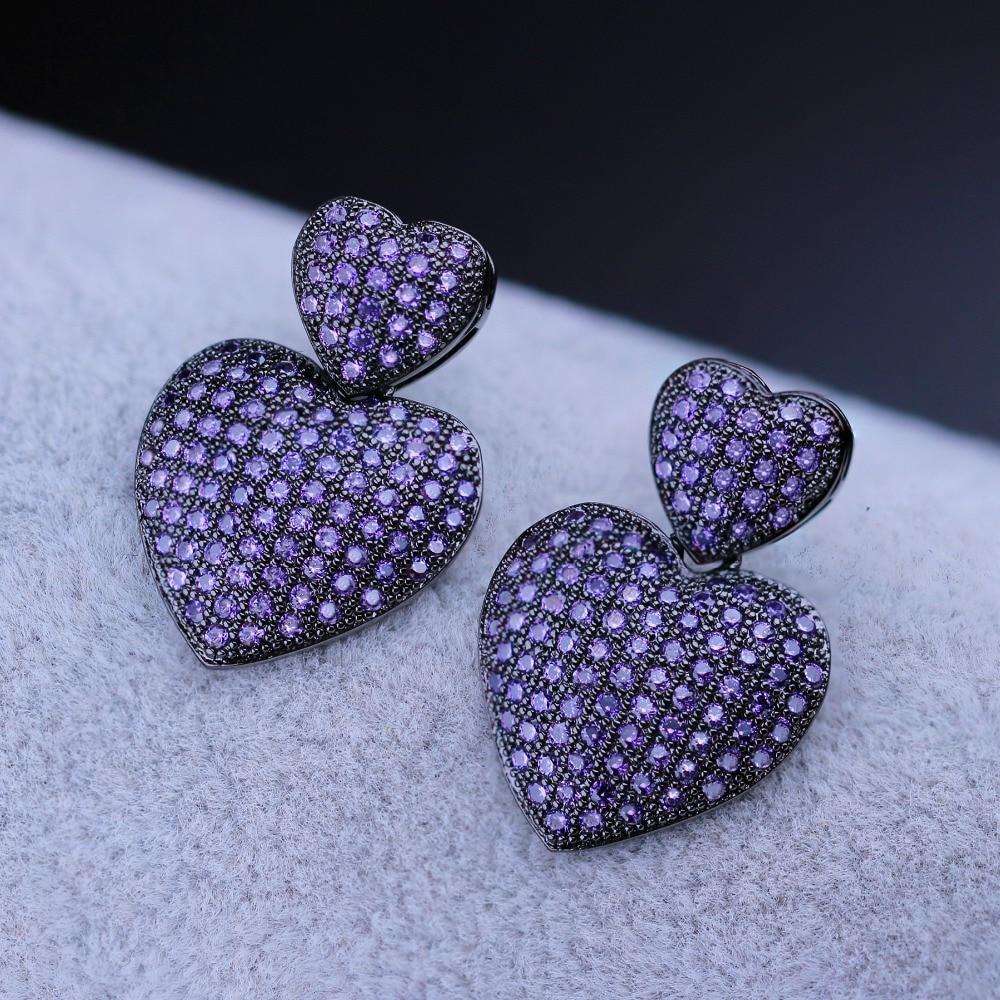 Newranos, pendientes de corazón para mujer, circonias cúbicas, pendientes de doble corazón para mujer, joyería de moda para mujer, regalo para mujer, EWX005442
