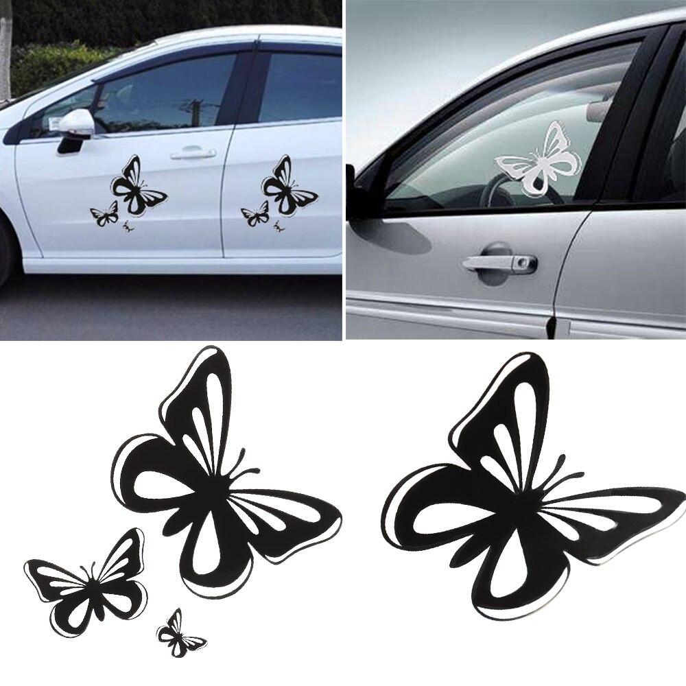 15,2*17CM hermosas mariposas pegatinas de coche de moda de estilo de coche calcomanías negro/blanco Auto cuerpo ventana calcomanía accesorios de coche