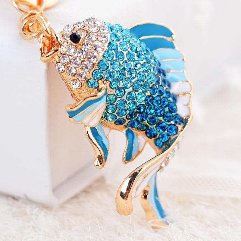 Bonito listrado cristal peixe chaveiro strass liga carpa titular chaveiro moda feminina saco pingente acessórios chaveiro d25