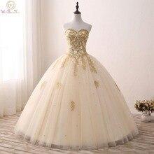 Gold Quinceanera Kleider Spitze Appliques Perlen Ballkleid Süße Liebsten Vestidos de 15 Anos Envio gratis Vestido De Princesa