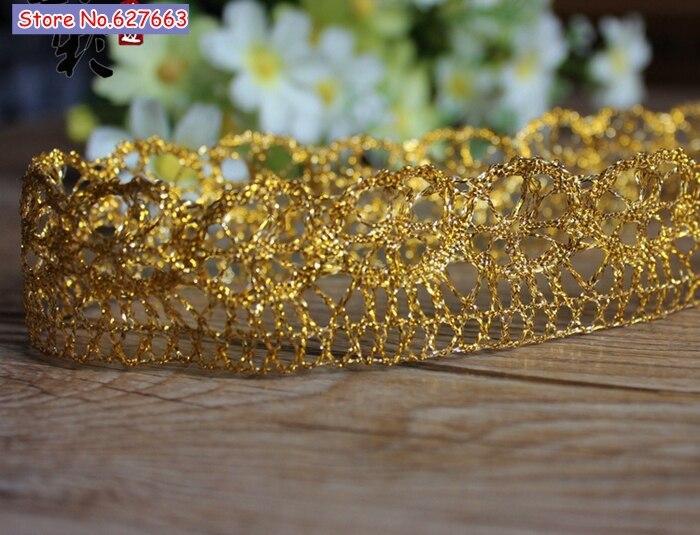 Roupas DIY acessórios de costura lace girassol ouro prata guarnição do laço 3 cm