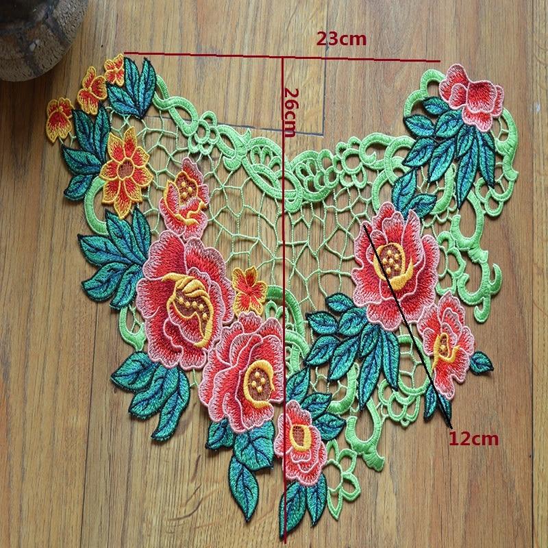 1 pieza/lote encaje de cuello bordado encaje Venecia patrón de bordado colorido parches en relieve accesorios de costura 06082131