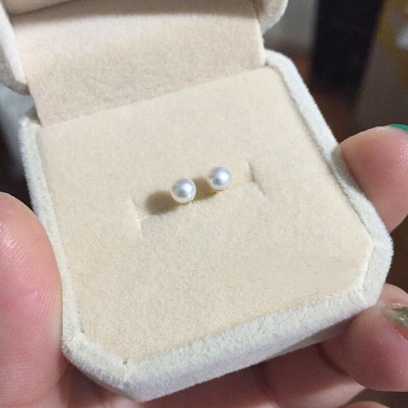 2019 mode Weibliche Ohr Pin Blendung Natürlichen Nähe Runde Perle In Der Nähe Einwandfreie 925 Silber Gold-Überzogene Ohr Pin Weibliche 4-4,5mm Größe