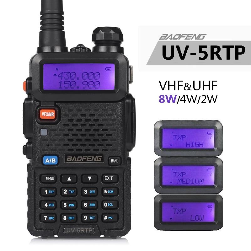 Baofeng UV-5R tp 8 w 4 w alta potência vhf/uhf 136-174/400-520 mhz banda dupla fm verdadeiro rádio de duas vias presunto walkie talkie/fone de ouvido UV-5RTP