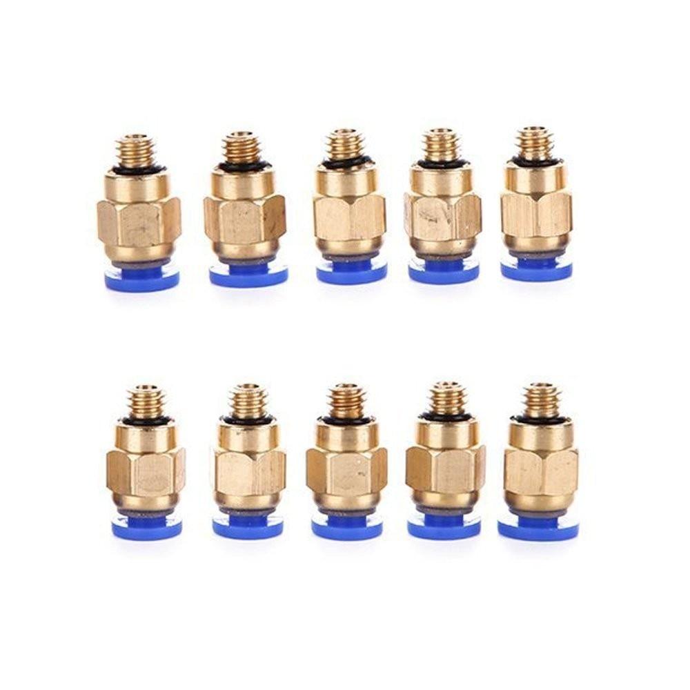 Pieza de latón Pc4-m6 Conector recto neumático 10 Uds para Mk8 Od 4mm 2mm filamento de tubo M6 acoplador de alimentación Piezas de impresoras 3d
