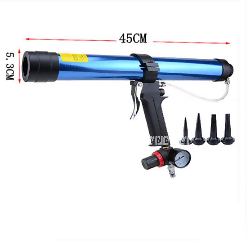 Pistola de calafateo neumática suave para salchichas de 600ML, pegamento de vidrio, pistolas de goma de aire, herramienta de calafateo, pistola de pegamento de vidrio con válvula de Control, barra 6,8
