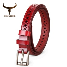 COWATHER 2019 Good Women belts cow genuine leather pin buckle vintage style top quality newest luxury female strap original