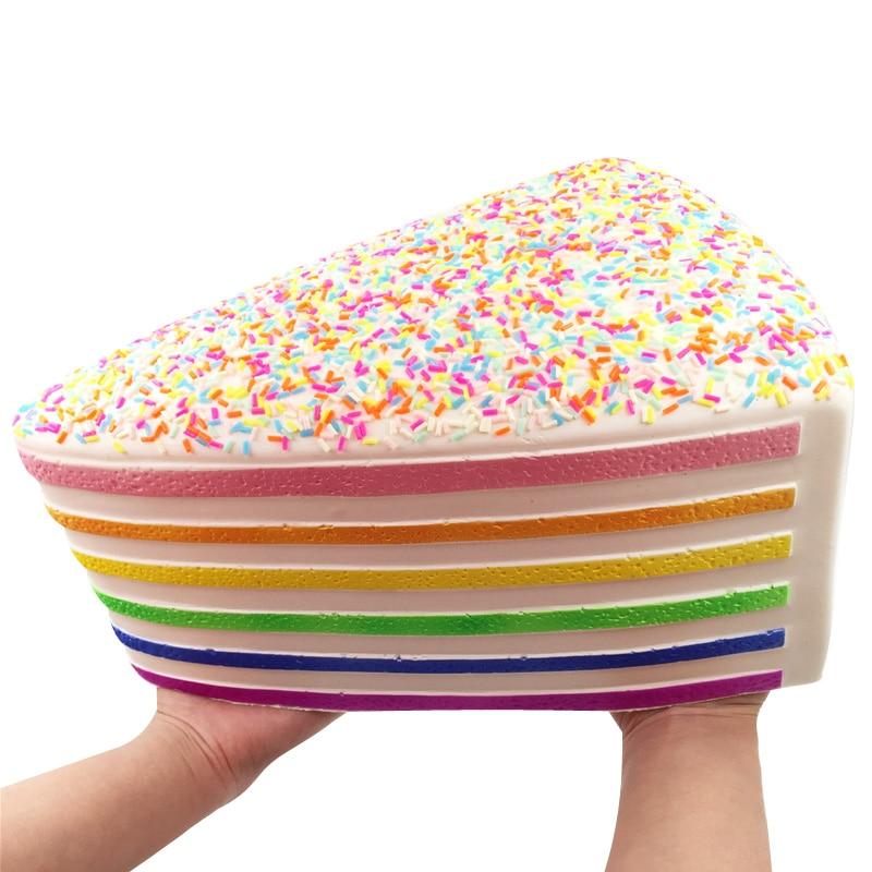 28cm lindo Triángulo del arco iris Jumbo espolvorear pastel de fresa Squishy Shortcake lento aumento antiestrés suave Squeeze juguetes de dijes niños