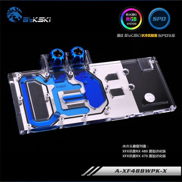 Bloque de tarjeta gráfica de cubierta completa Bykski para XFX-Radeon-RX-480-GTR-8GB-GDDR5/ RX580 GTS XXX edición radiador de cobre bloque de agua