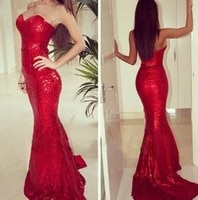 2018 new arrival sexy red sweetheart sheath mermaid zipper back red sequin lace bridesmaid dresses customize
