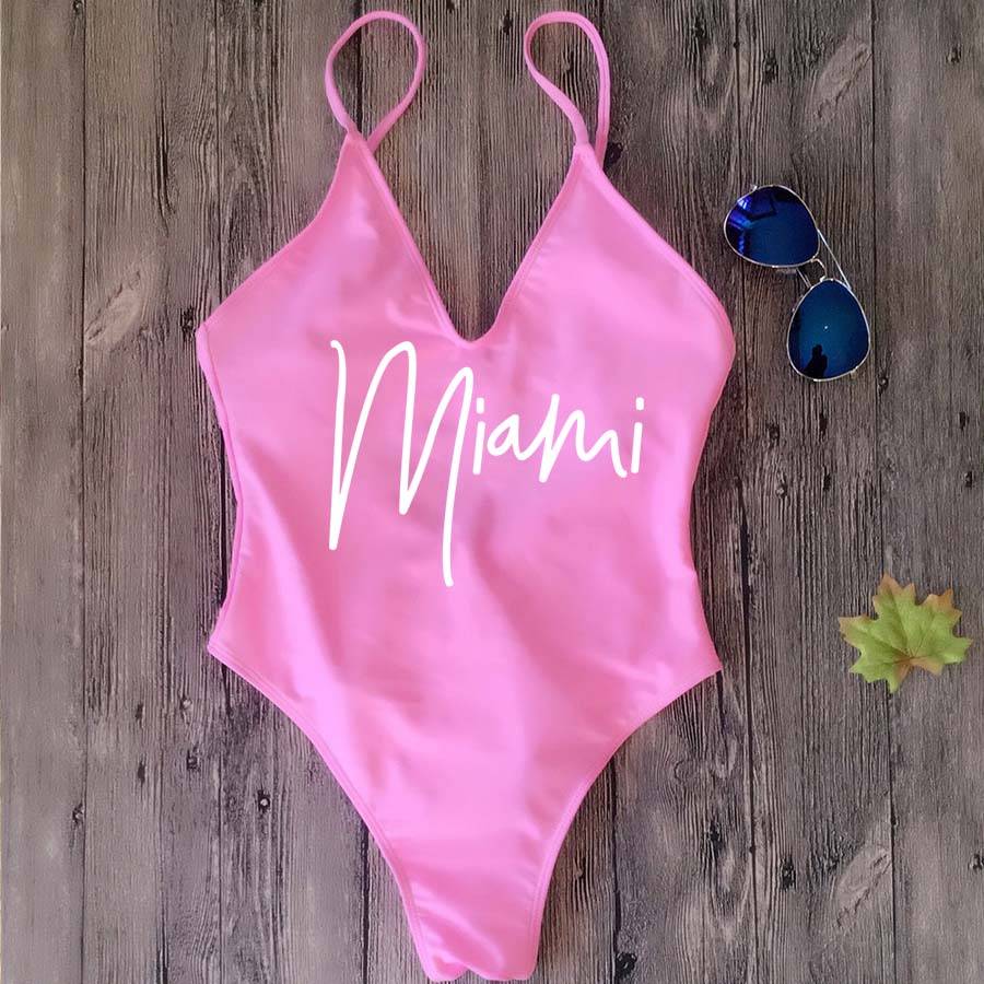 Female Thong Padded Sexy One Piece Swimsuit Miami HOLA Beaches Women Fused Swimwear Backless Bather Monokini Beachwear