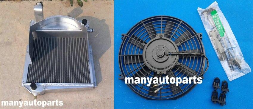 Radiador de aleación de aluminio + ventilador para Bugeye/MG Healey Stamp