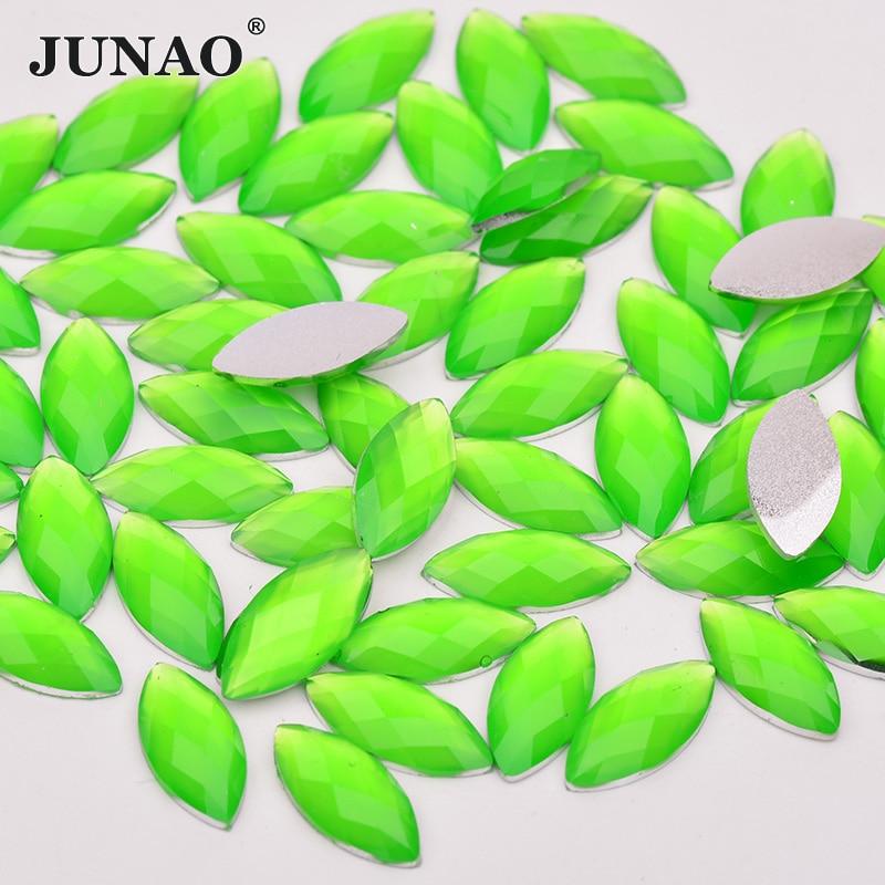 JUNAO 7x15mm Neon Green Resin Rhinestones Horse Eye Crystal Applique Non Sewing Stones Scrapbook Strass Flatback Crystals Crafts