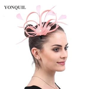 Sinamay Wedding Fashion Fascinator Hat Hair Clip Handmade For Women Elegant Ladies Headwear With Fancy Feather Headdress Ladies