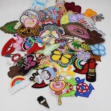 Ensemble de patchs mélangés aléatoires 10/20 pièces/lot   Patchs cousus en fer de dessin animé, mignons patchs dappliques brodées pour vêtements, patchs autocollants