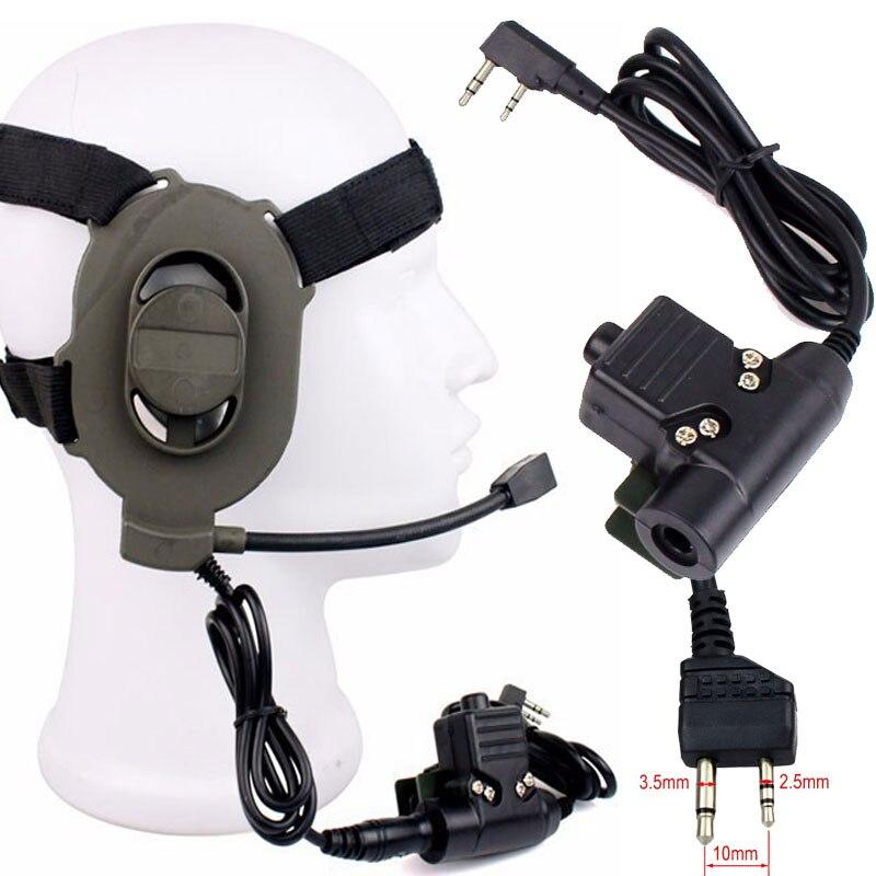 Auriculares tácticos Bowman Elite II con Cable de 2 pines U94 PTT Para Kenwood Midland caza radio walkie talkie