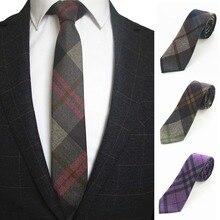 "JEMYGINS Original 2,4 ""Skinny England Plaid Kaschmir Wolle Krawatte Handgemachte Dünne Krawatte Für Mode Jugend Männer Party Anzug Hals krawatte"
