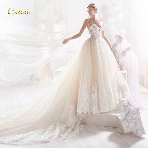 Loverxu Vestido De Noiva Sexy Backless Sweetheart Wedding Dresses 2019 Luxury Appliques Beaded Court Train A Line Bridal Gown
