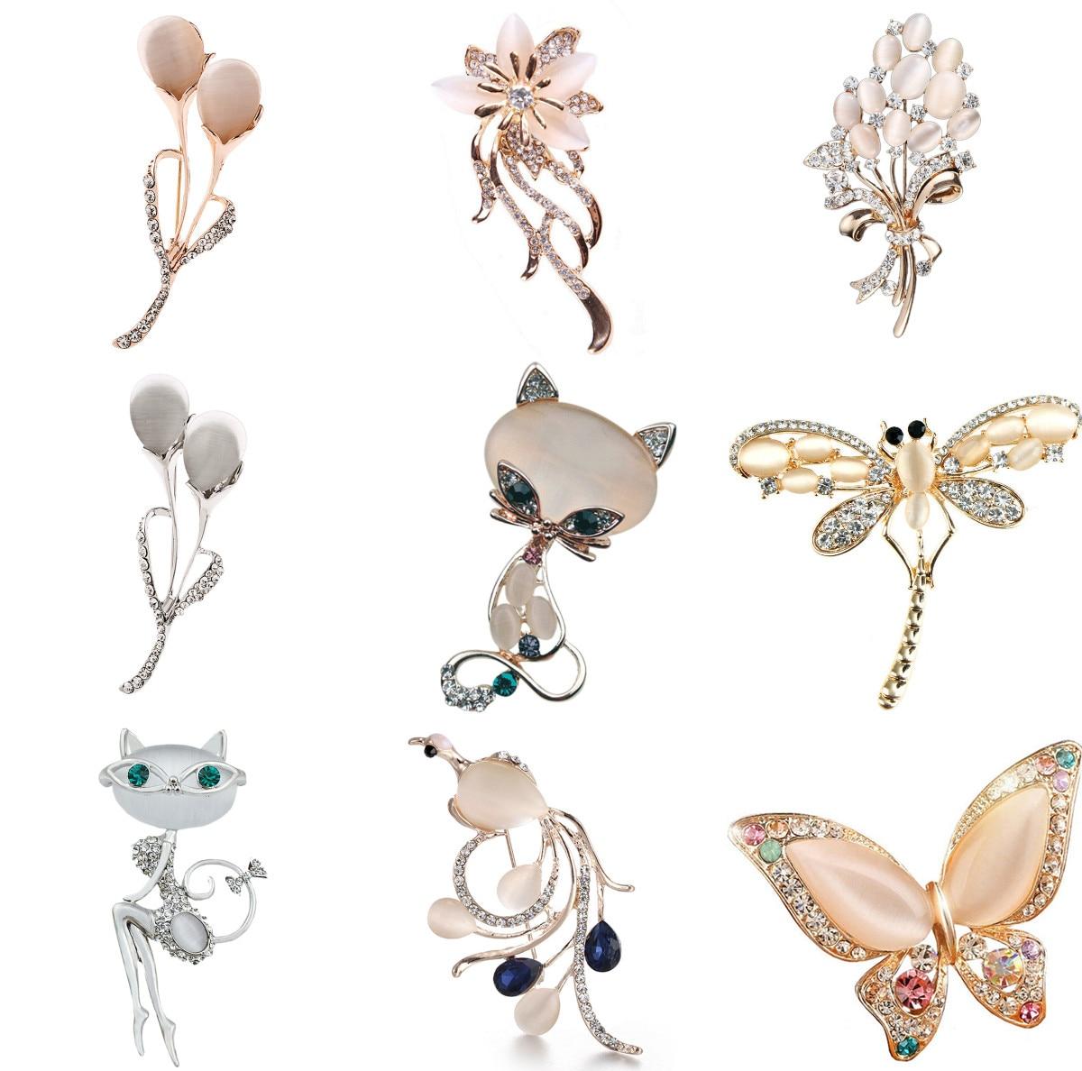 Цветок стрекозы, броши с лисой, модный опал, камень, цветок, брошь, аксессуары для одежды, подарок на день рождения
