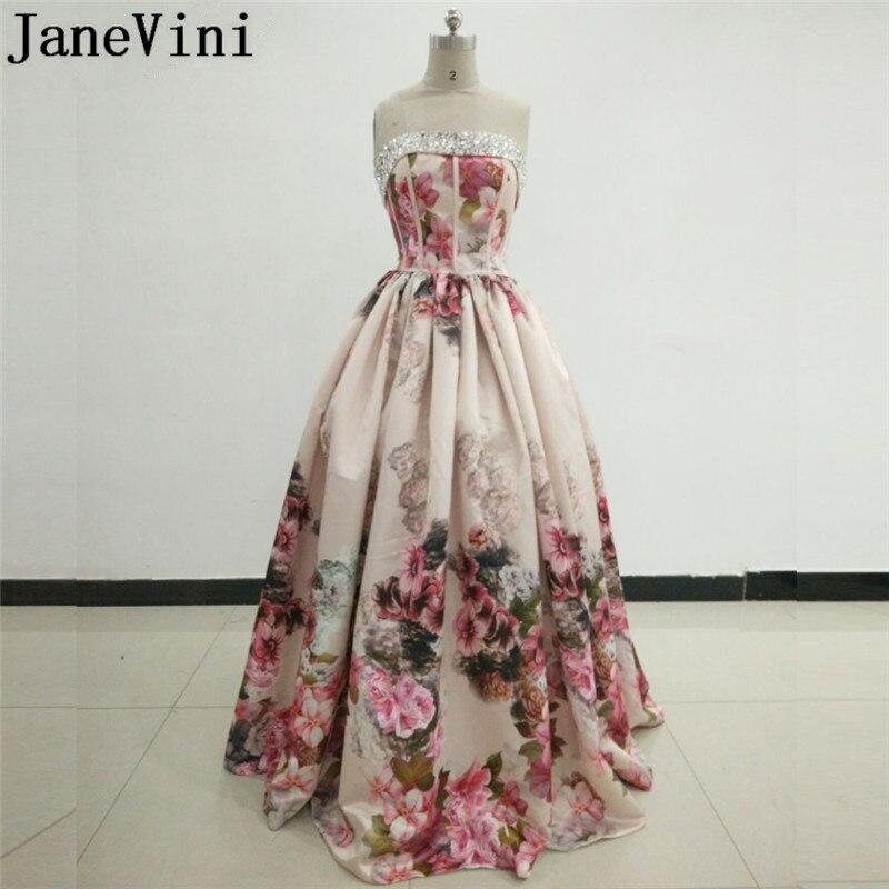 Женское атласное платье JaneVini, длинное платье для выпускного вечера с цветочным принтом в Дубае, Саудовская Аравия, платья для подружки неве...