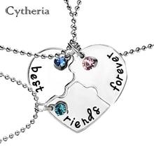 Meilleurs amis pour toujours BFF colliers cassé or argent plaqué coeur collier pour 3 amitié cadeau de noël bestfriends bijoux