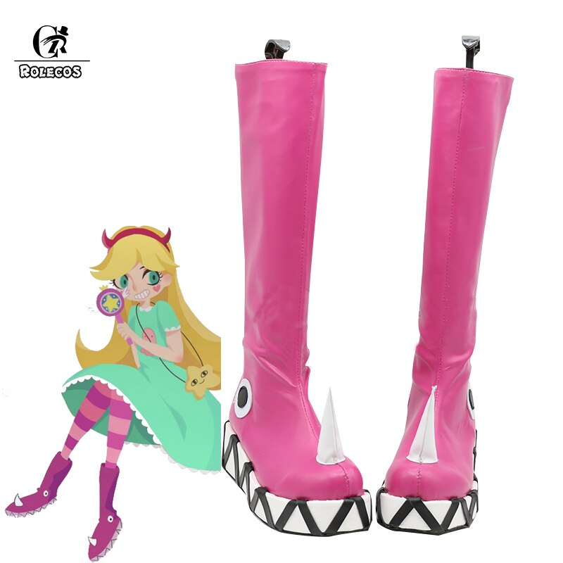 Rolecos anime estrela vs cosplay sapatos as forças do mal botas cosplay princesa estrela borboleta rosa