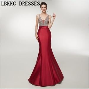 Vestido De Festa Longo Burgundy Mermaid Evening Dresses Long Backless Sleeveless Abiye Gece Elbisesi Women Party Dresses