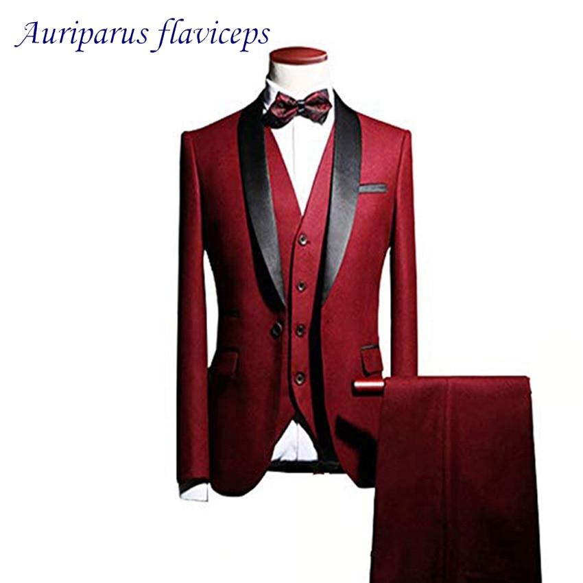 بدلة رجالية مع شال أحمر ، 3 قطع ملابس زفاف للرجال ، بدلة سهرة للعريس ، بدلة مصممة ، بليزر ، بدلة كلاسيكية