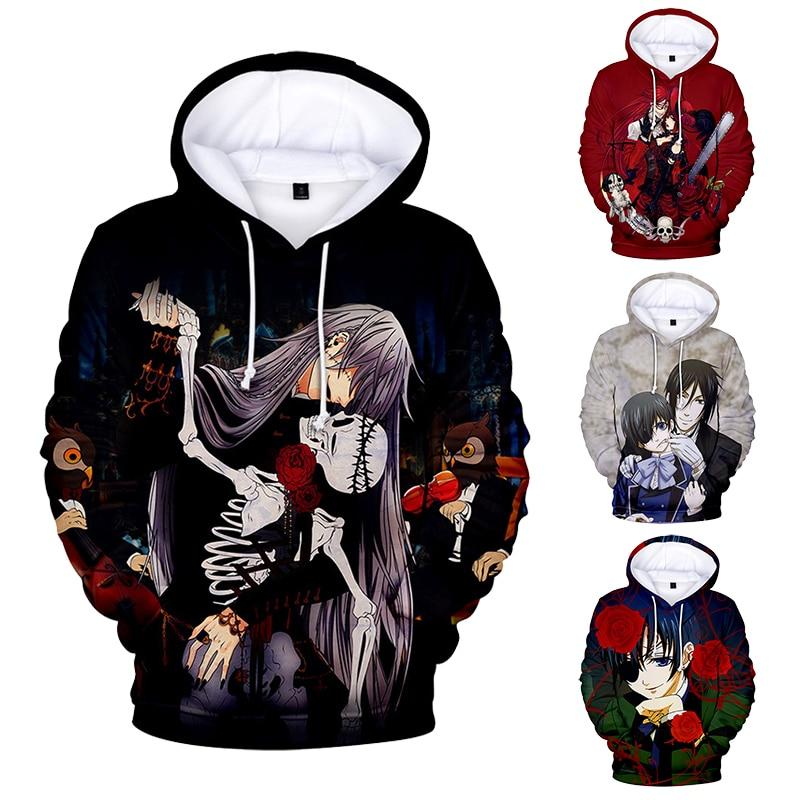Anime Black Butler 3D Print Hoodies Women Men Pullover Sweatshirts Ciel Sebastian Grell Hooded Harajuku Casual Couples Clothes