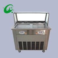 Double Square pan fried ice cream rolls machine auto temp display ice pan machine ice cream fryer for sale