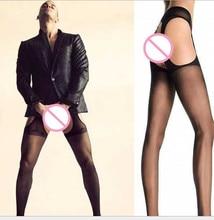 Medias transparentes sexis para hombre, medias transparentes sexis para hombre, pantimedias abiertas para hombre, tamaño libre, negro