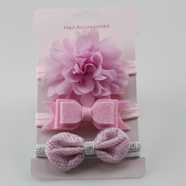 3Pcs Baby Elastic flower headband Headbands Hair Girls Bebe Bowknot Hairband Toddler Infants accessories set photography props 4