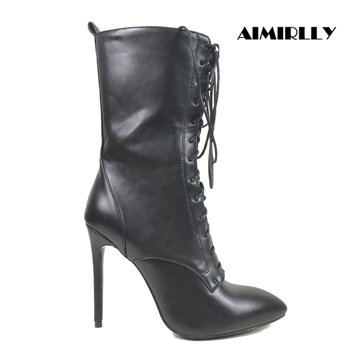 Femmes bout pointu bottines noir/bleu foncé PU classique à lacets 12cm chaussons à talons hauts printemps automne chaussures habillées grand tableau