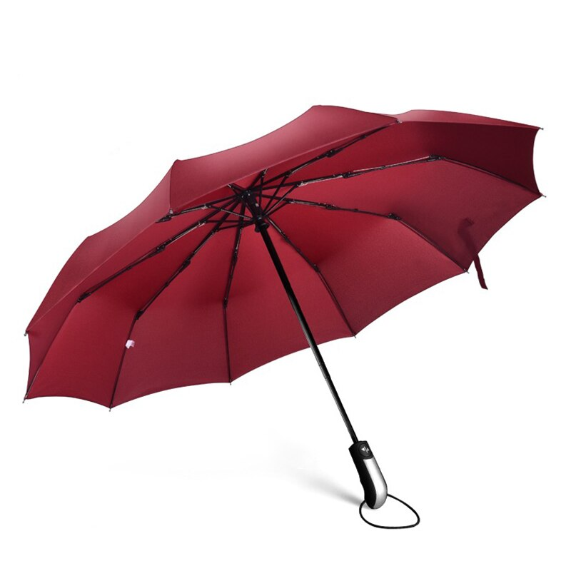 Large Strong Frame Umbrella Rain Windproof Travel Three Folding Umbrellas Rain Women Quality Brand Golf Umbrella Paraplu 50ys126
