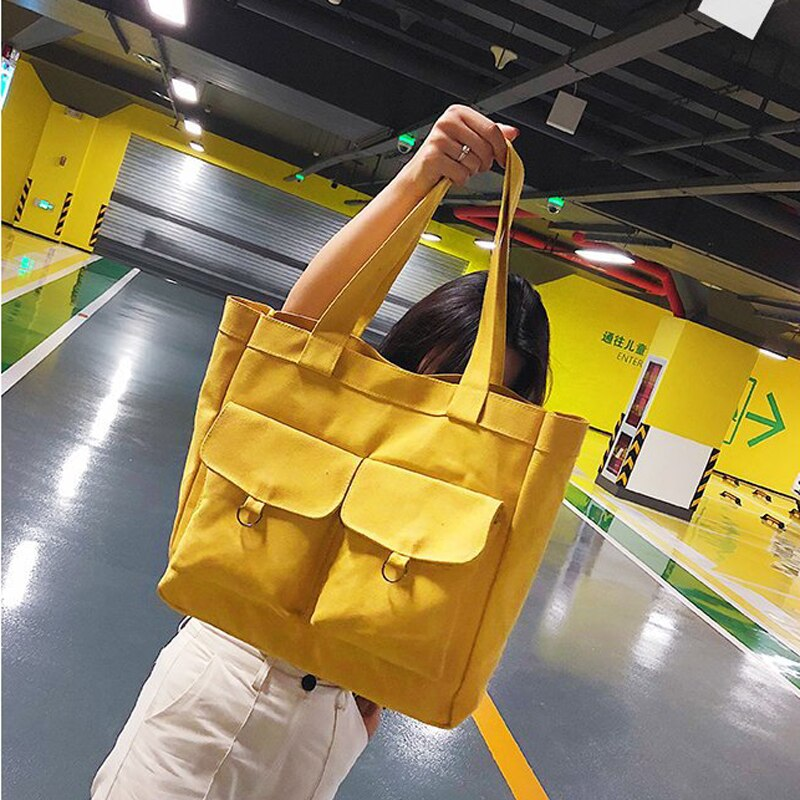 New Tote Bags Folding Package Handbags Canvas bags Reusable Cotton Single Shoulder Bag Shopping Check Female Fold Shopping Bag