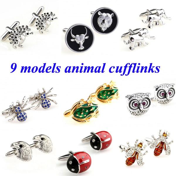 Fashion Hedgehog Wolf Sheep Elephant Spider Frog Owl Bird Bee Beatles Cufflink Cuff Link 1 Pair Free Shipping Biggest Promotion