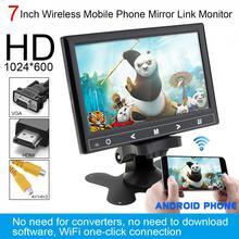 7 Inch HD IPS 12V  TFT LCD Color Multifunction Car Headrest Monitor support HDMI / VGA / AV / Wireless Mobile Phone Mirror Link