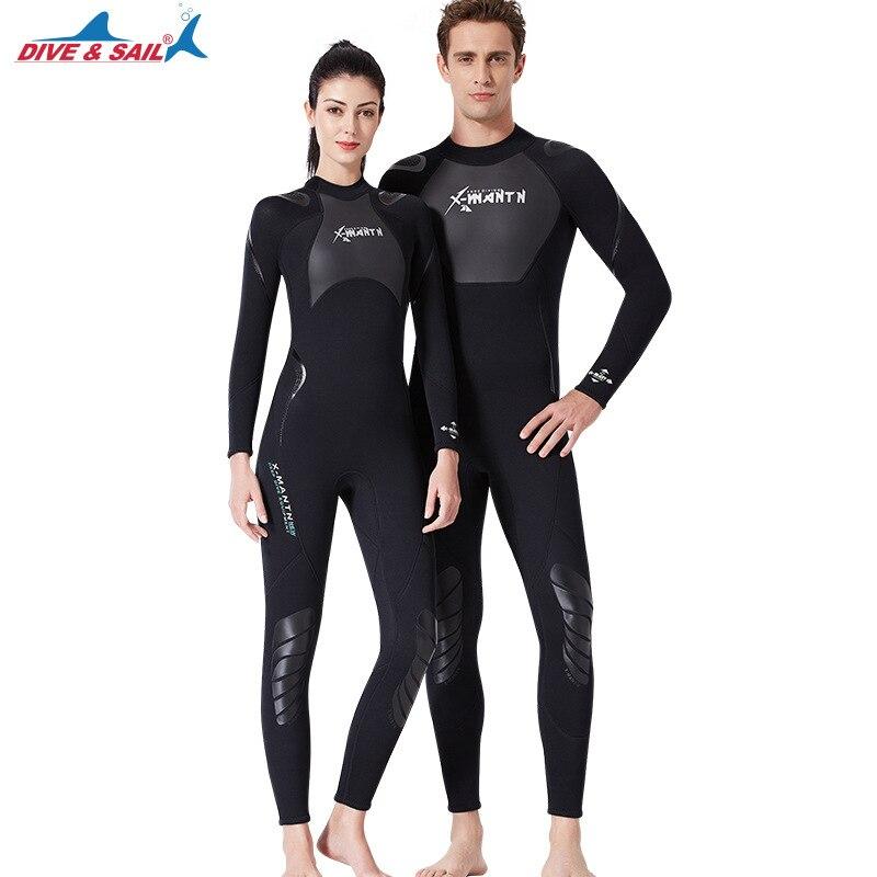 Traje de buceo de 3MM para hombre y mujer, traje de neopreno para buceo y deportes acuáticos