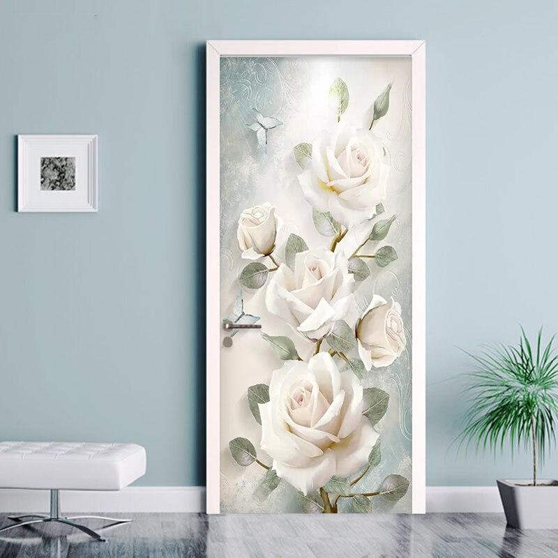 Современные цветы, картина маслом, 3D Наклейка на стену, дверь, гостиная, спальня, обои, ПВХ, самоклеящиеся, водонепроницаемые, наклейка на две...