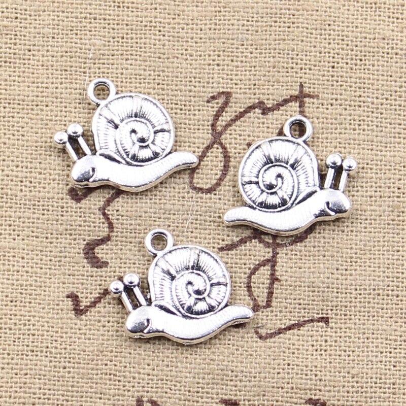 15 Uds encantos Caracol 17x18mm colgante antiguo adecuado, Vintage tibetano plata color bronce encontrar, DIY para collar de pulsera