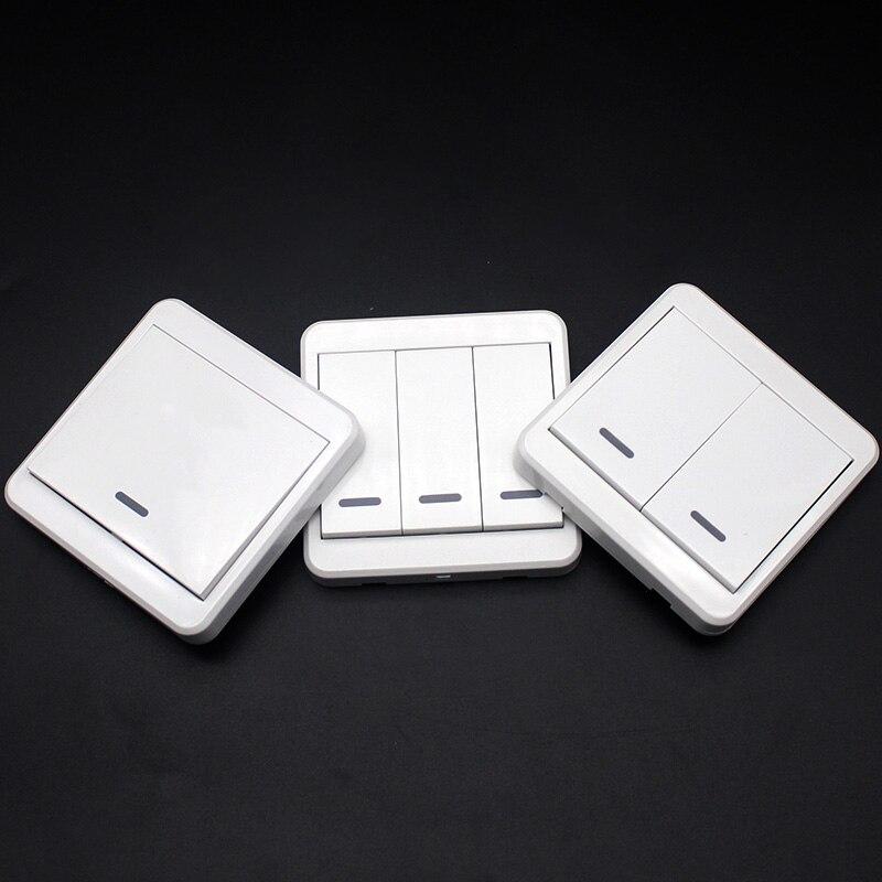 Interruptor de luz montado de 433MHz controles remotos inalámbricos 86 Panel de pared Transmisor RF con 1 2 3 botones interruptor KTNNKG