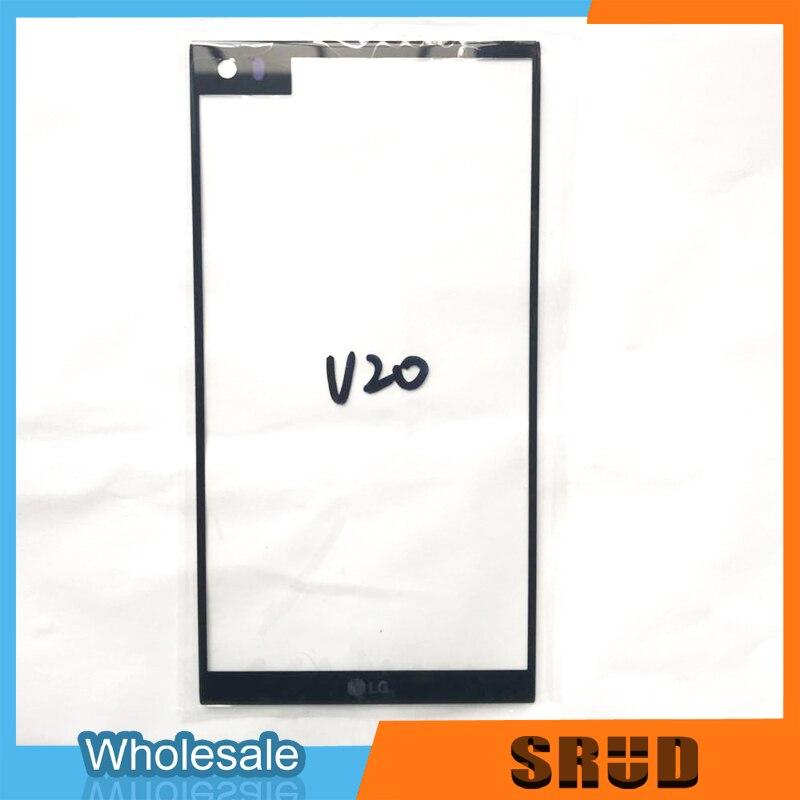 "10 unids/lote negro para LG V20 H990 H910 H918 LS997 US996 VS995 frente de vidrio 5,7 ""Pantalla táctil LCD exterior pieza de reparación de lente de Panel"